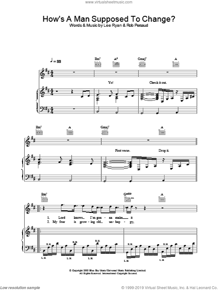How's A Man Supposed To Change? sheet music for voice, piano or guitar, intermediate. Score Image Preview.
