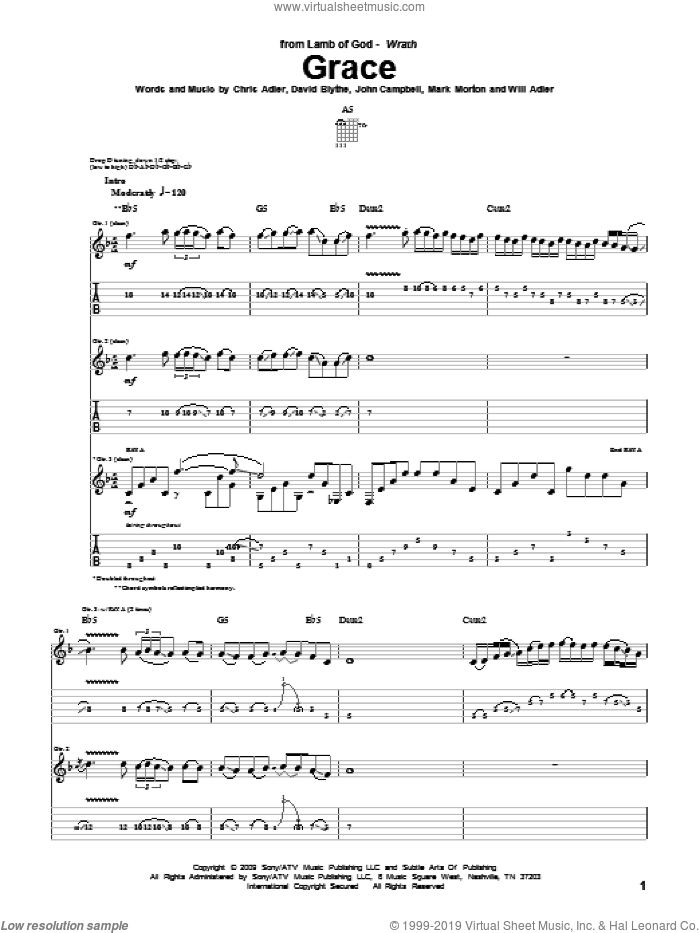 Grace sheet music for guitar (tablature) by Will Adler and Lamb Of God