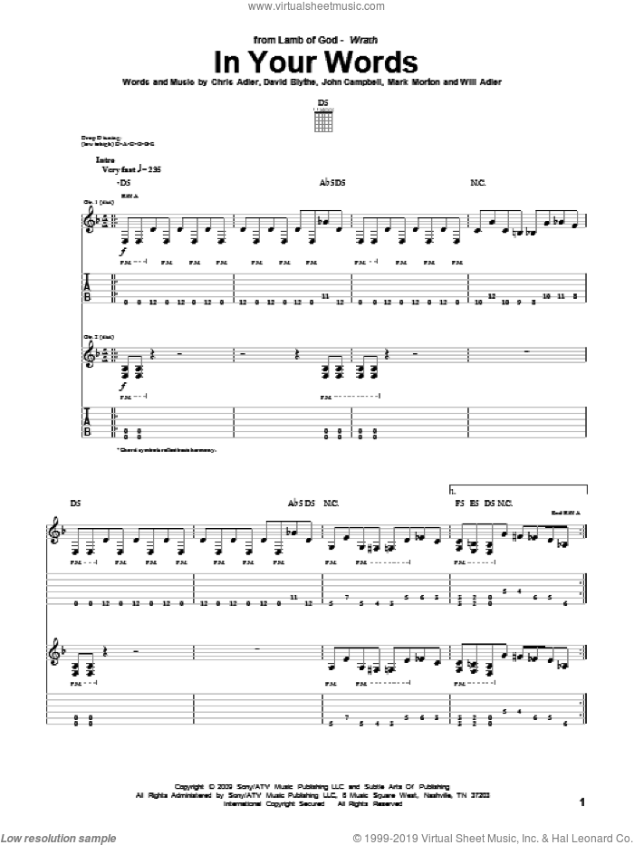 In Your Words sheet music for guitar (tablature) by Lamb Of God. Score Image Preview.