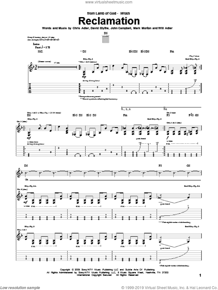 Reclamation sheet music for guitar (tablature) by Will Adler and Lamb Of God. Score Image Preview.