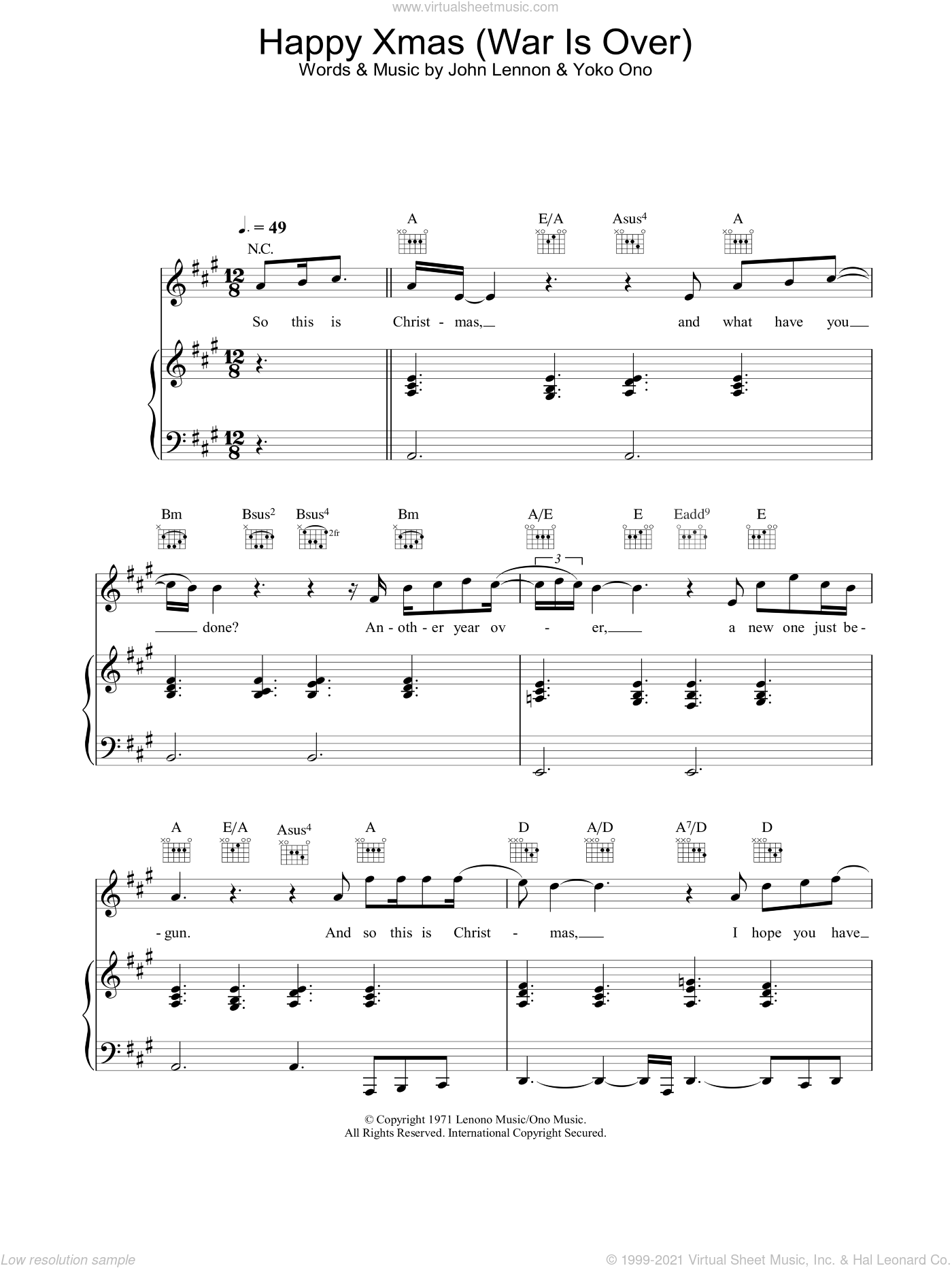Happy Christmas War Is Over Chords.2003 Happy Xmas War Is Over Sheet Music For Voice Piano Or Guitar