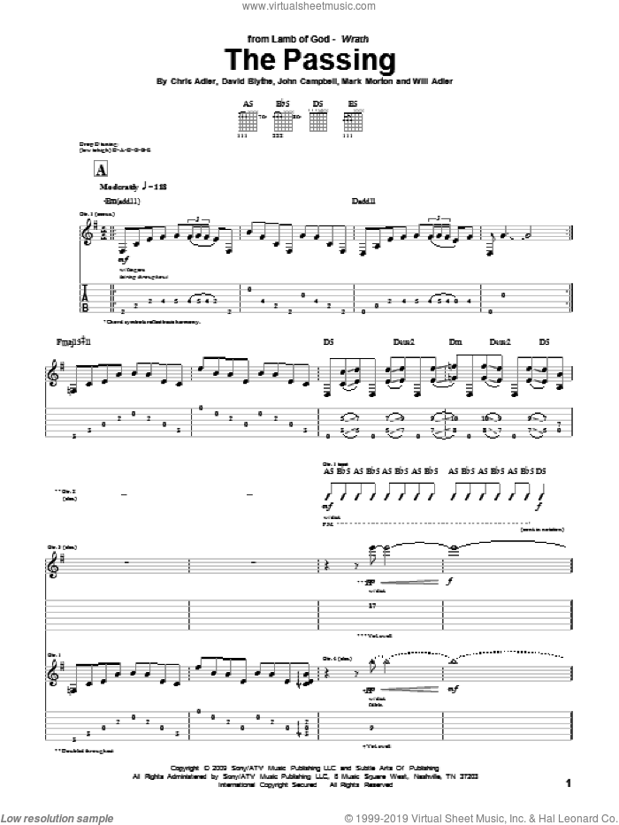 The Passing sheet music for guitar (tablature) by Will Adler and Lamb Of God