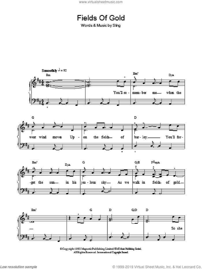Fields Of Gold, (easy) sheet music for piano solo by Sting, easy skill level