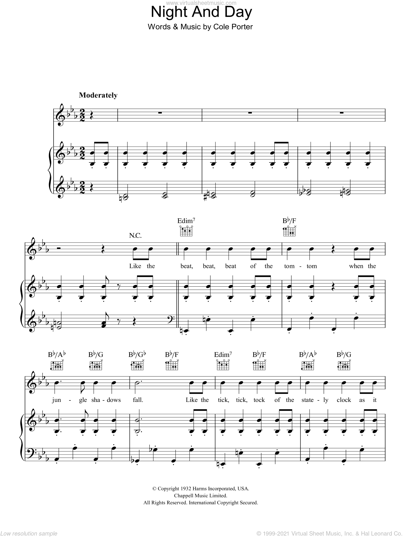 Night And Day sheet music for voice, piano or guitar by Cole Porter, intermediate skill level