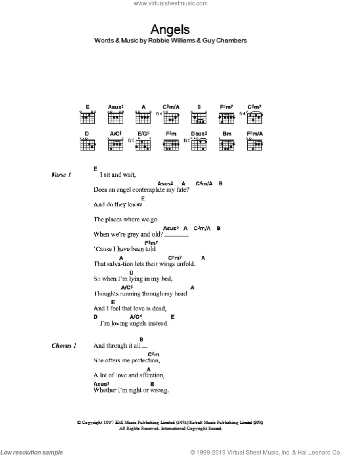 Angels sheet music for guitar (chords) by Guy Chambers and Robbie Williams. Score Image Preview.
