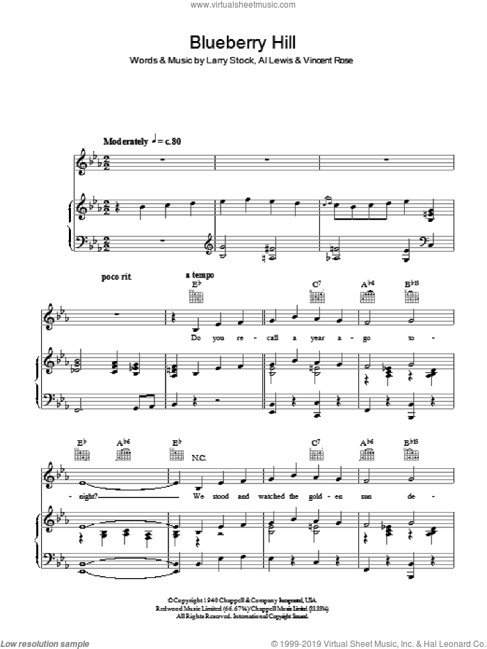 Armstrong Blueberry Hill Sheet Music For Voice Piano Or Guitar