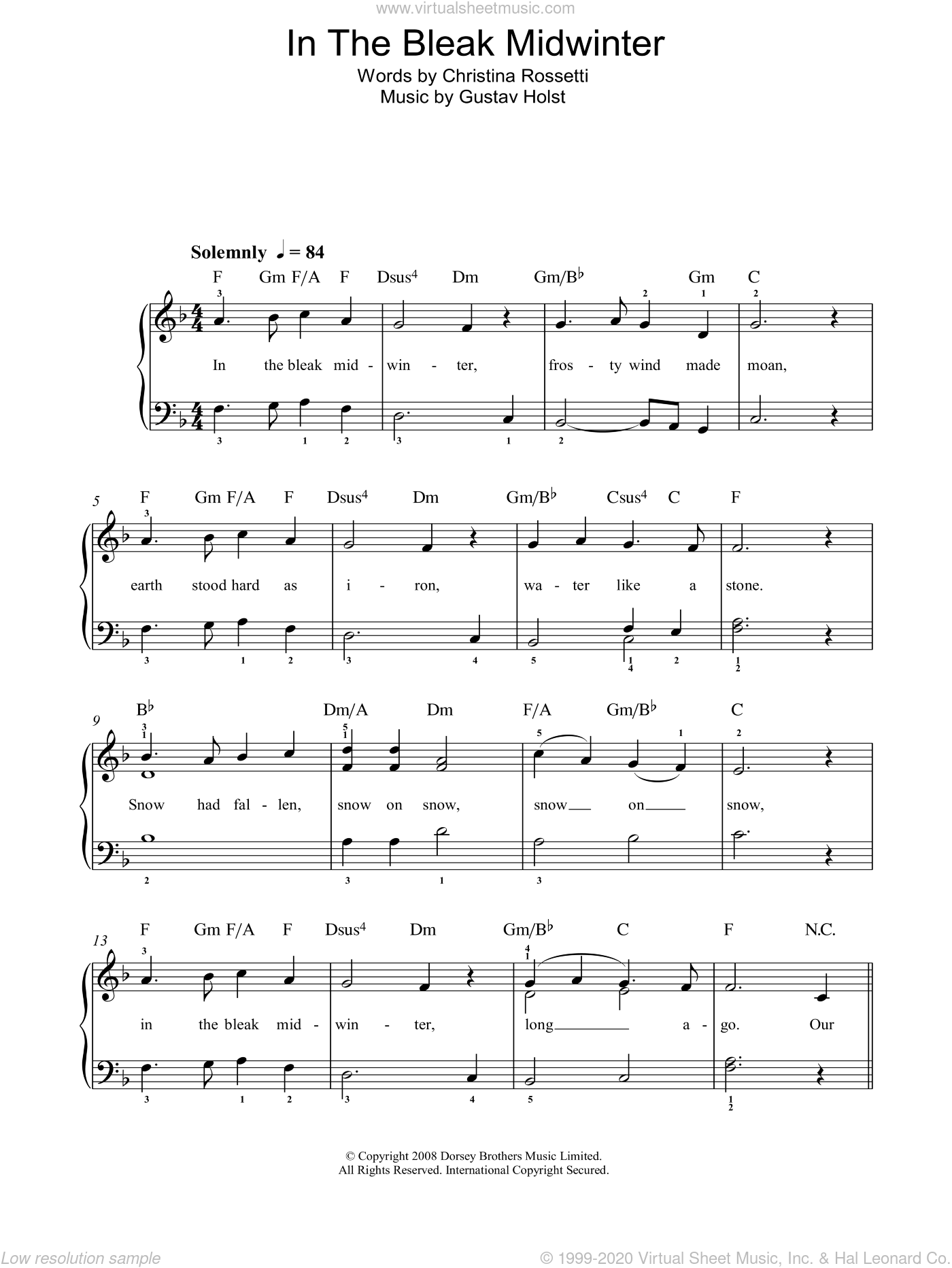 In The Bleak Midwinter sheet music for piano solo by Christina Rossetti and Gustav Holst