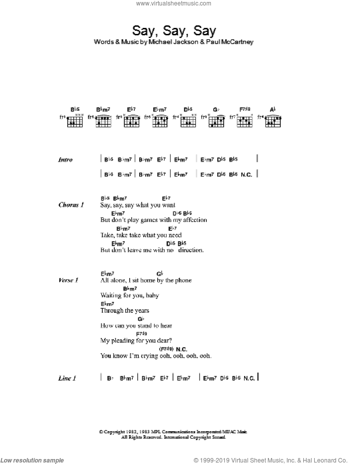 Say Say Say sheet music for guitar (chords) by Paul McCartney and Michael Jackson, Michael Jackson and Paul McCartney. Score Image Preview.
