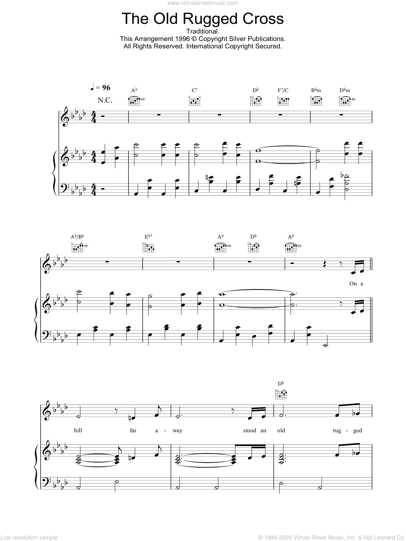 The Old Rugged Cross sheet music for voice, piano or guitar by Daniel O'Donnell. Score Image Preview.