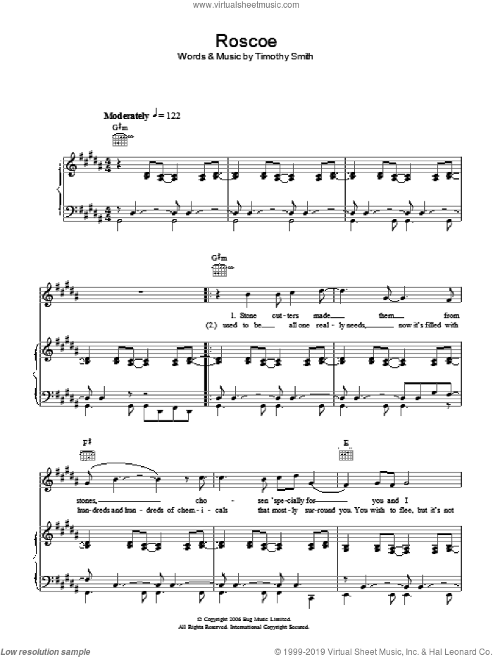 Roscoe sheet music for voice, piano or guitar by Tim Smith