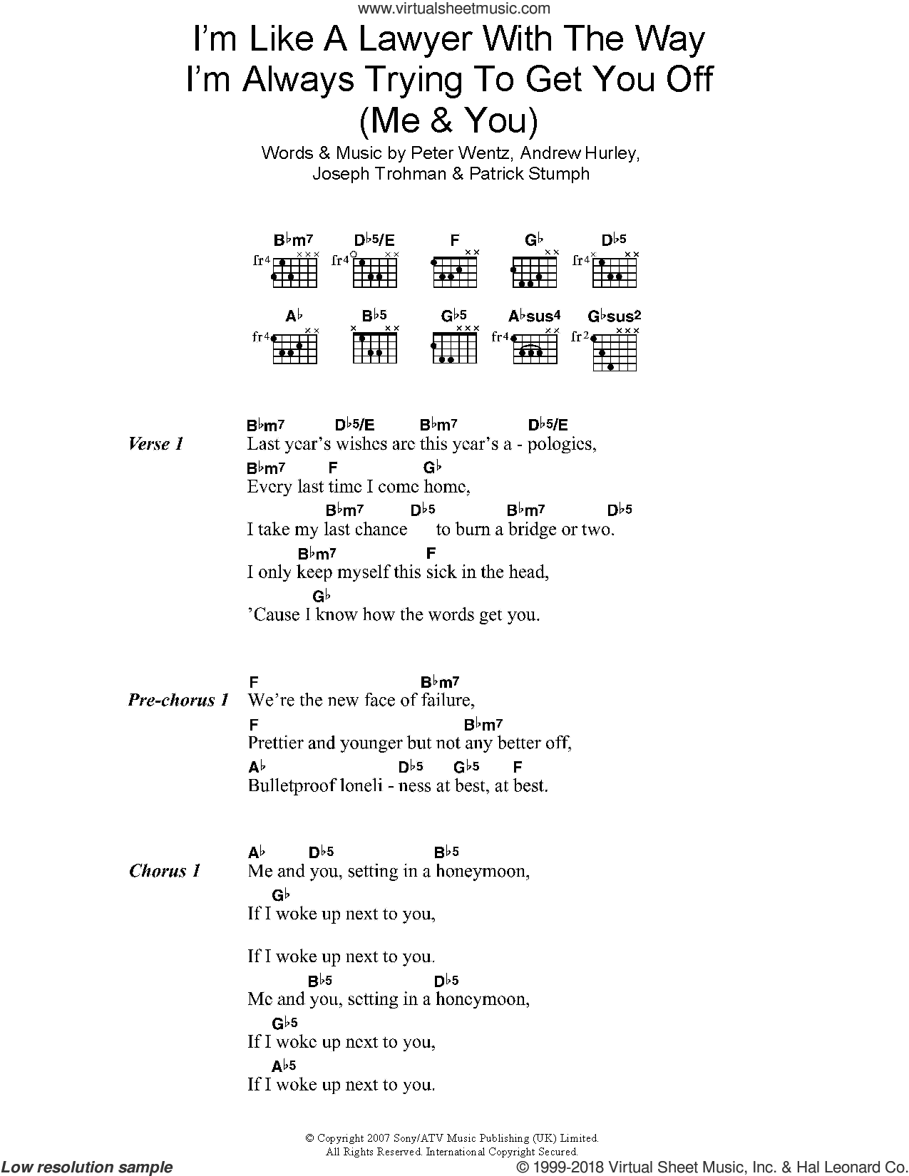 I'm Like A Lawyer With The Way I'm Always Trying To Get You Off (Me and You) sheet music for guitar (chords) by Fall Out Boy, Andrew Hurley, Joseph Trohman, Patrick Stumph and Peter Wentz, intermediate skill level