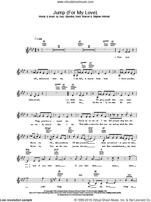 Jump (For My Love) sheet music for voice, piano or guitar by The Pointer Sisters, intermediate voice, piano or guitar. Score Image Preview.