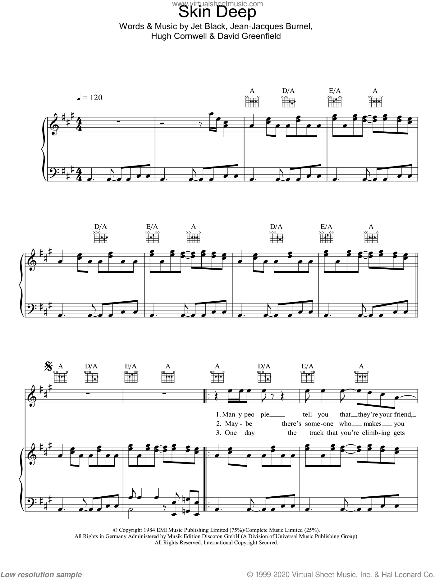 Skin Deep sheet music for voice, piano or guitar by The Stranglers, David Greenfield, Hugh Cornwell, Jean-Jacques Burnel and Jet Black, intermediate skill level