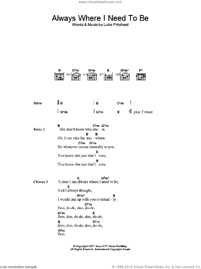Always Where I Need To Be sheet music for guitar (chords, lyrics, melody) by Luke Pritchard