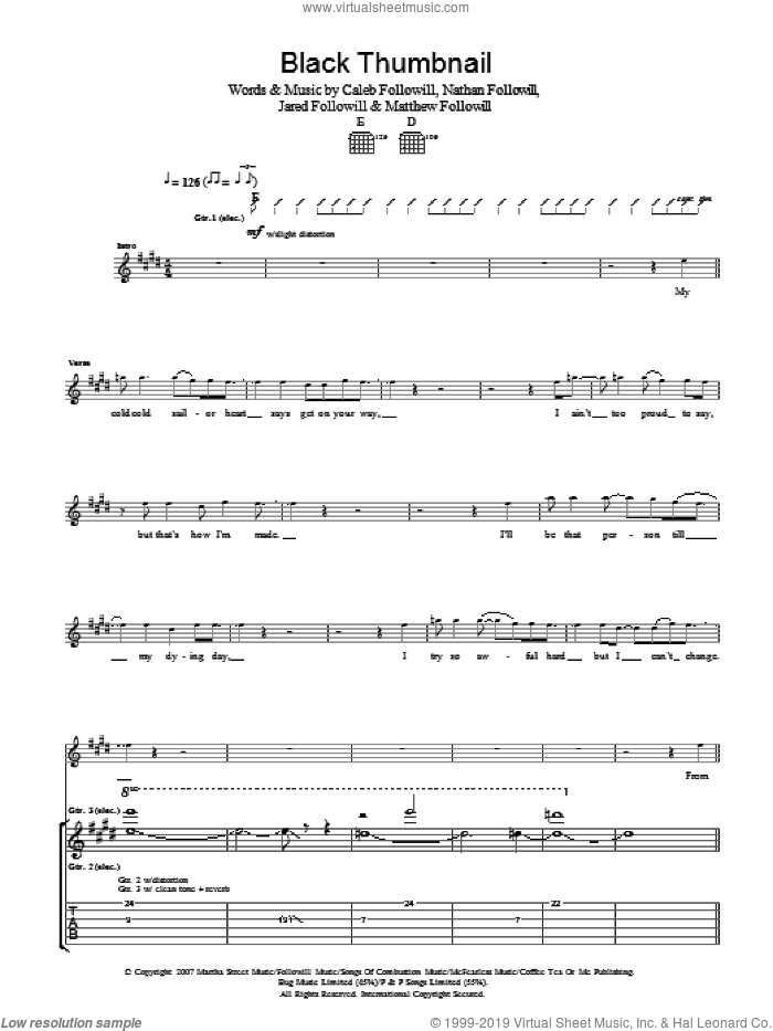 Black Thumbnail sheet music for guitar (tablature) by Caleb Followill, Kings Of Leon, Matthew Followill and Nathan Followill. Score Image Preview.