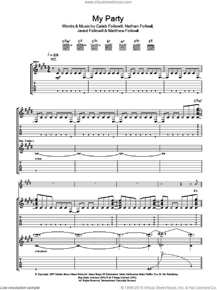 My Party sheet music for guitar (tablature) by Caleb Followill, Kings Of Leon, Matthew Followill and Nathan Followill. Score Image Preview.