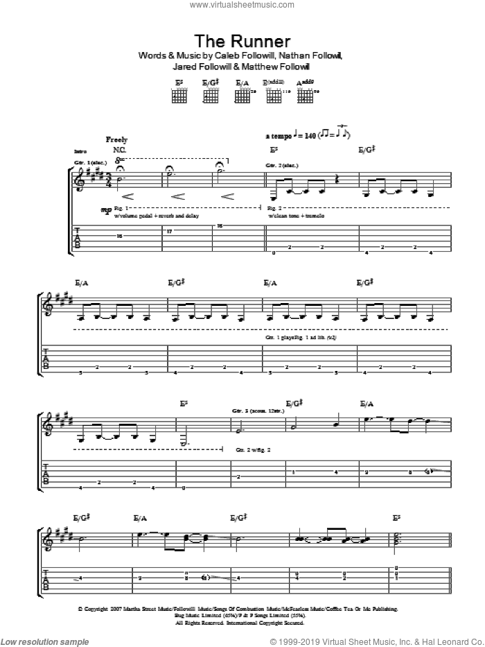 The Runner sheet music for guitar (tablature) by Kings Of Leon, Caleb Followill, Jared Followill, Matthew Followill and Nathan Followill, intermediate. Score Image Preview.