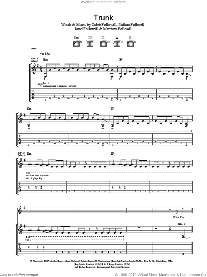 Trunk sheet music for guitar (tablature) by Caleb Followill, Kings Of Leon, Matthew Followill and Nathan Followill. Score Image Preview.