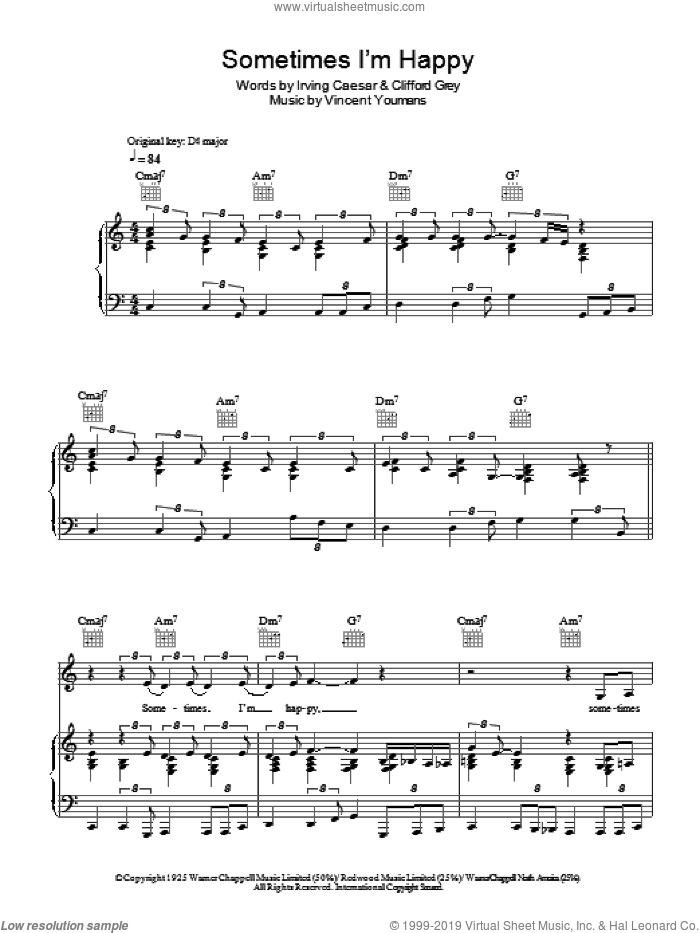 Sometimes I'm Happy sheet music for voice, piano or guitar by Vincent Youmans