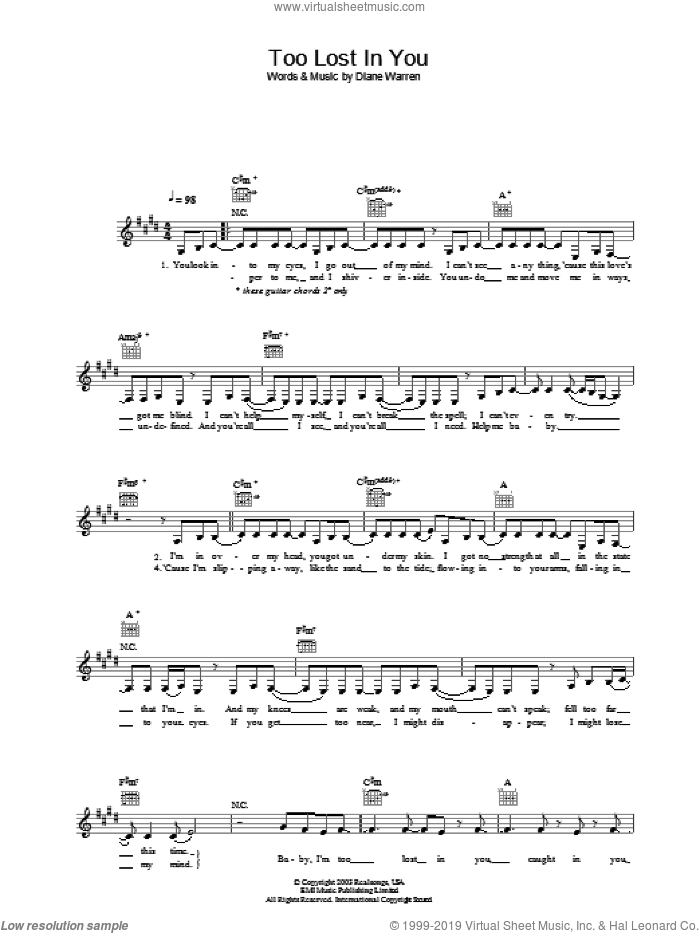 Too Lost In You sheet music for voice and other instruments (fake book) by Sugababes. Score Image Preview.