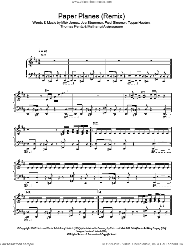 Paper Planes Remix sheet music for voice, piano or guitar by Joe Strummer, M.I.A., Mathangi Arulpragasam, Mick Jones, Paul Simonon, Thomas Wesley Pentz and Topper Headon. Score Image Preview.