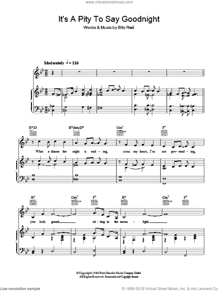 It's A Pity To Say Goodnight sheet music for voice, piano or guitar by Billy Reid