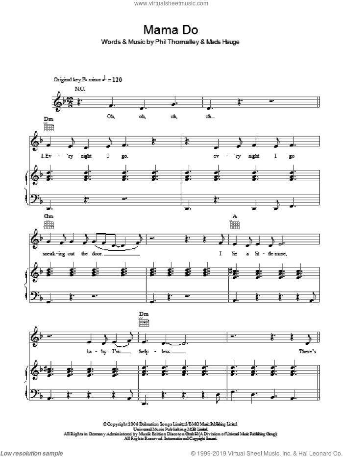 Mama Do sheet music for voice, piano or guitar by Mads Hauge, Pixie Lott and Phil Thornalley. Score Image Preview.