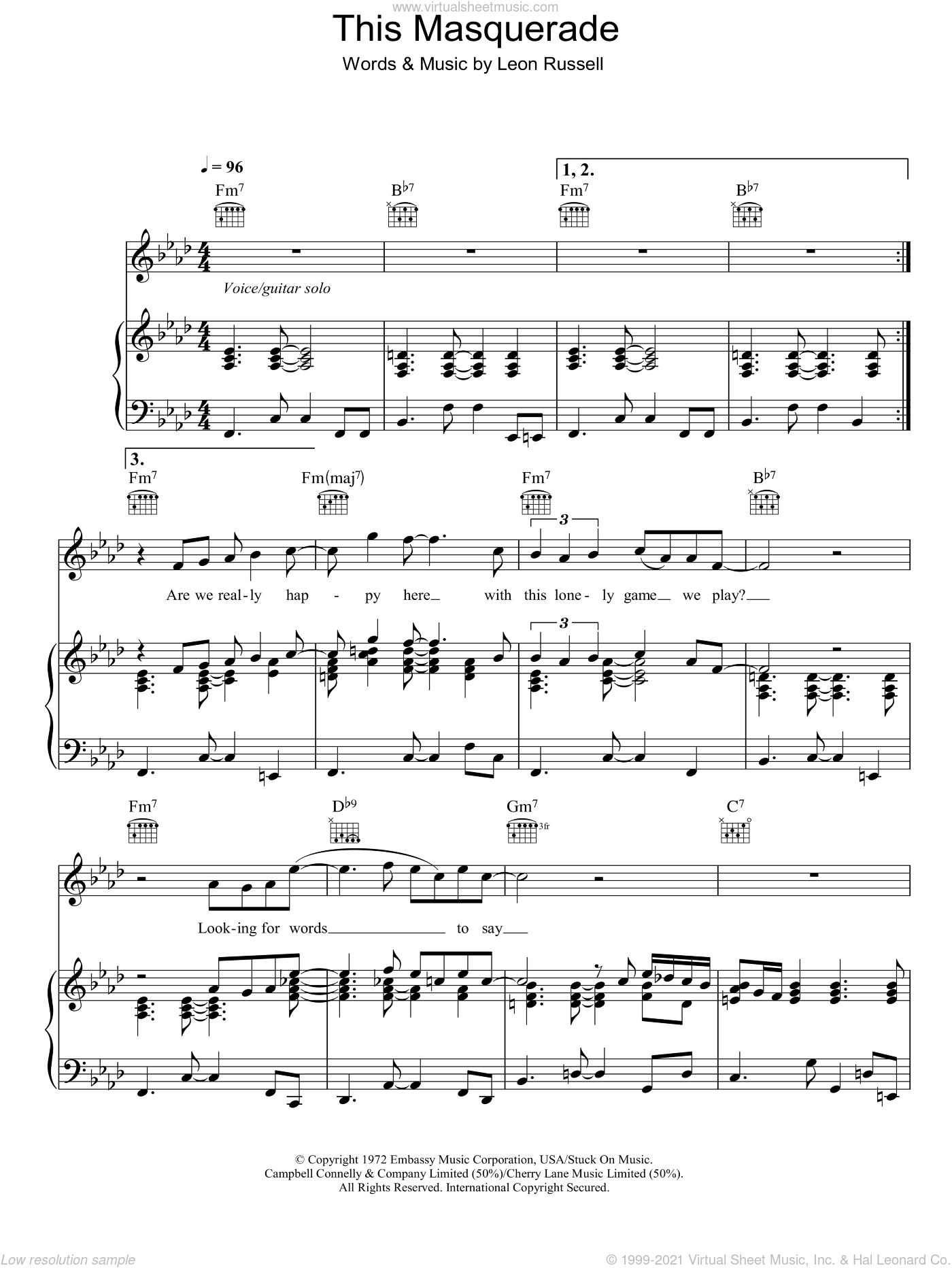 This Masquerade sheet music for voice, piano or guitar by George Benson and Leon Russell, intermediate skill level
