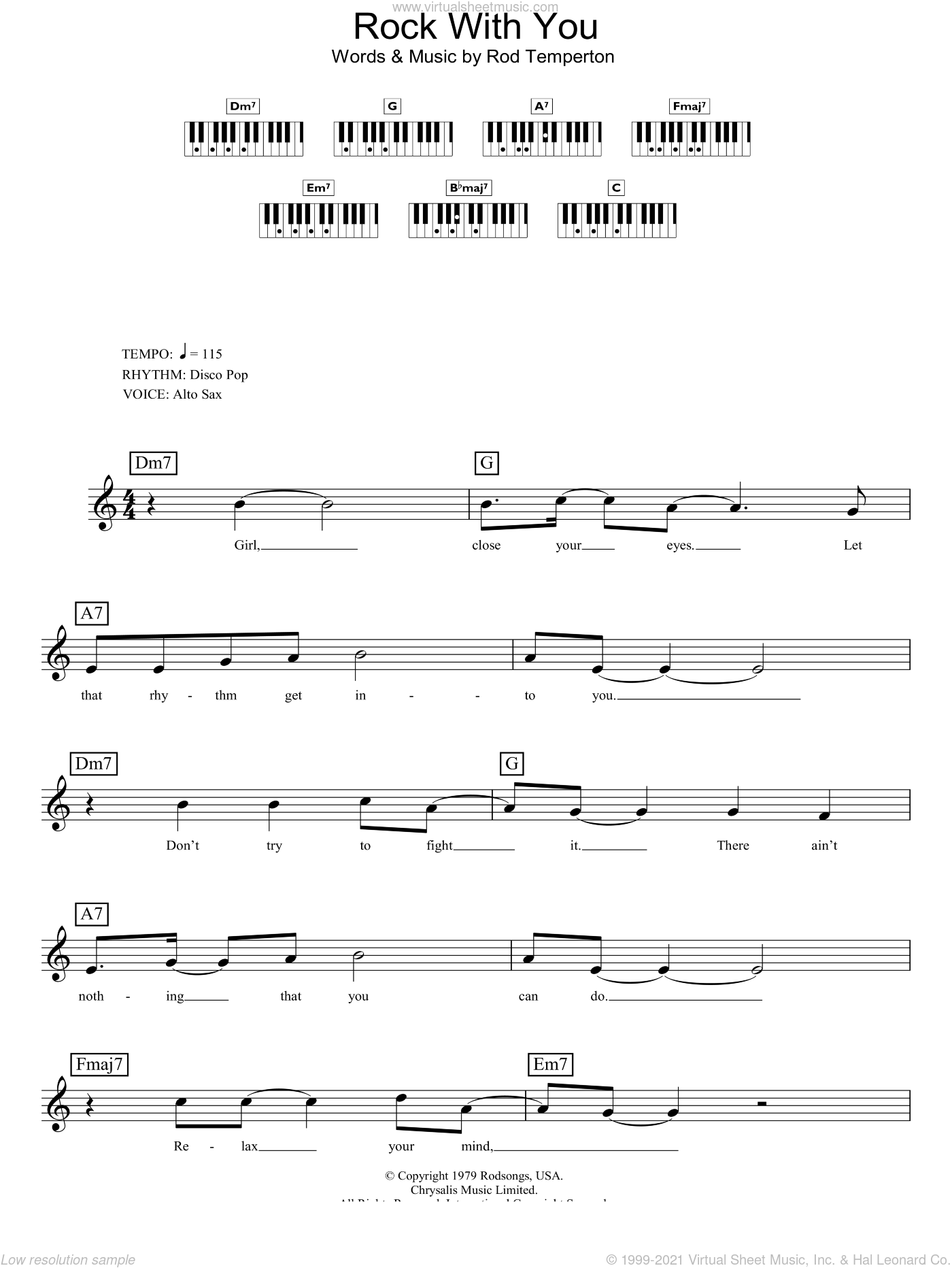 Rock With You sheet music for piano solo (chords, lyrics, melody) by Michael Jackson and Rod Temperton, intermediate piano (chords, lyrics, melody). Score Image Preview.