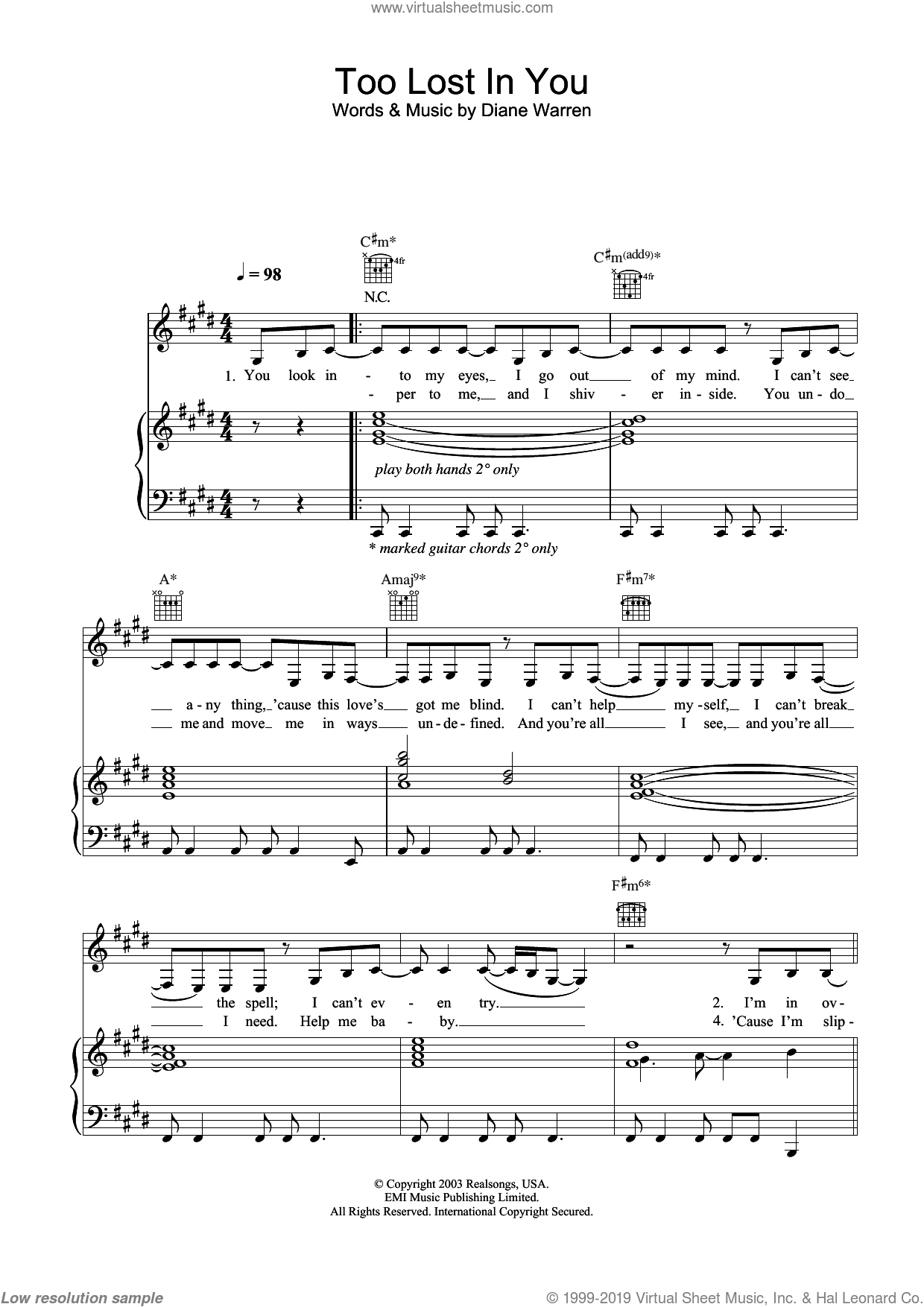 Too Lost In You sheet music for voice, piano or guitar by Sugababes and Diane Warren, intermediate skill level