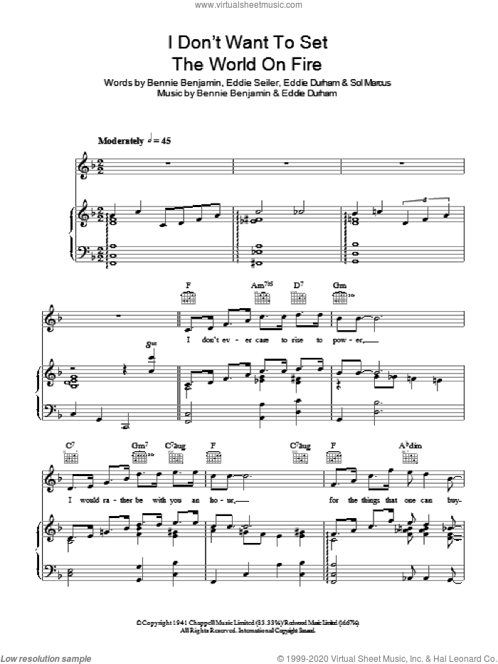 I Don't Want To Set The World On Fire sheet music for voice, piano or guitar by Bennie Benjamin, The Ink Spots, Eddie Durham, Eddie Seiler and Sol Marcus. Score Image Preview.
