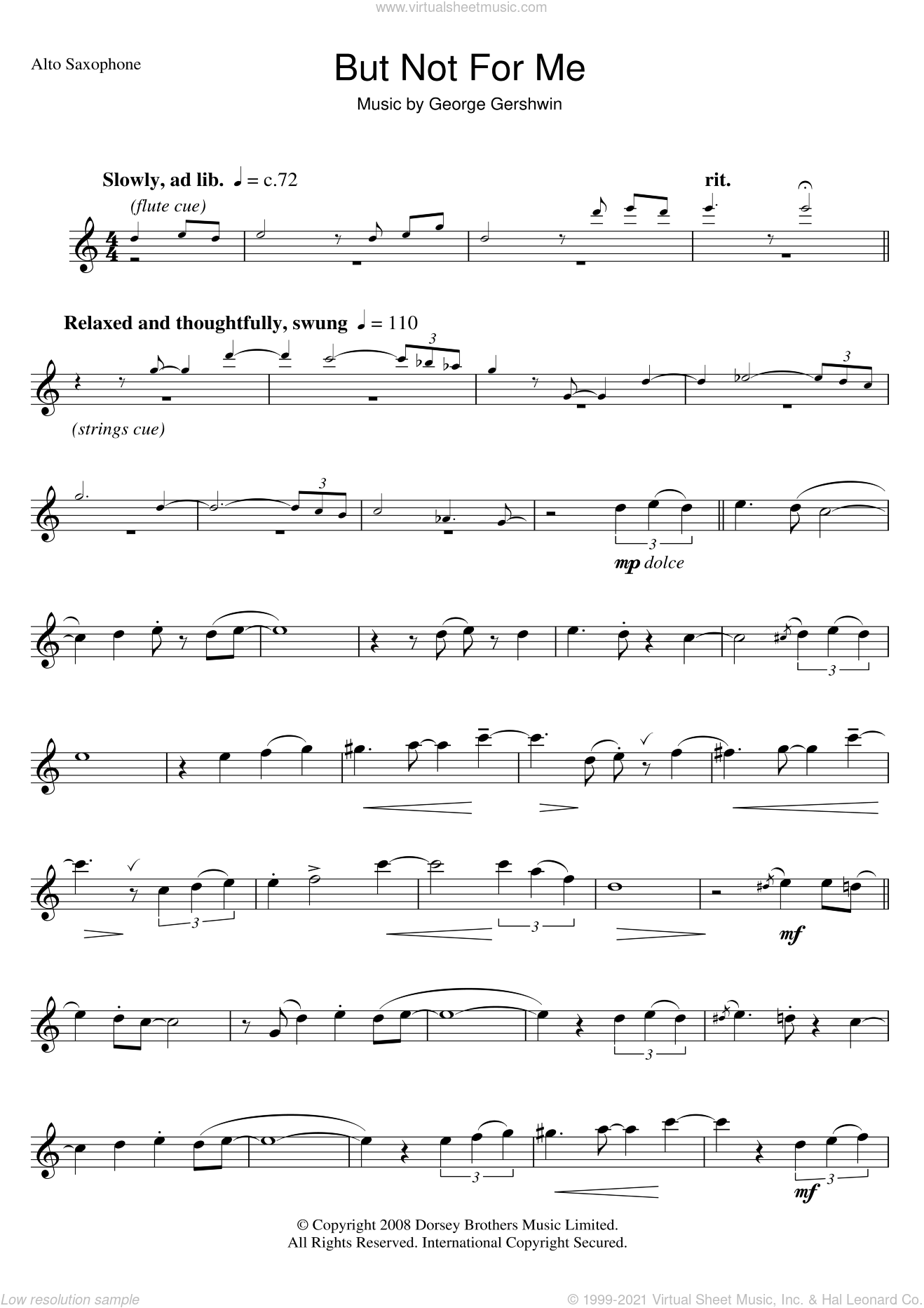 But Not For Me sheet music for alto saxophone solo by George Gershwin, intermediate skill level