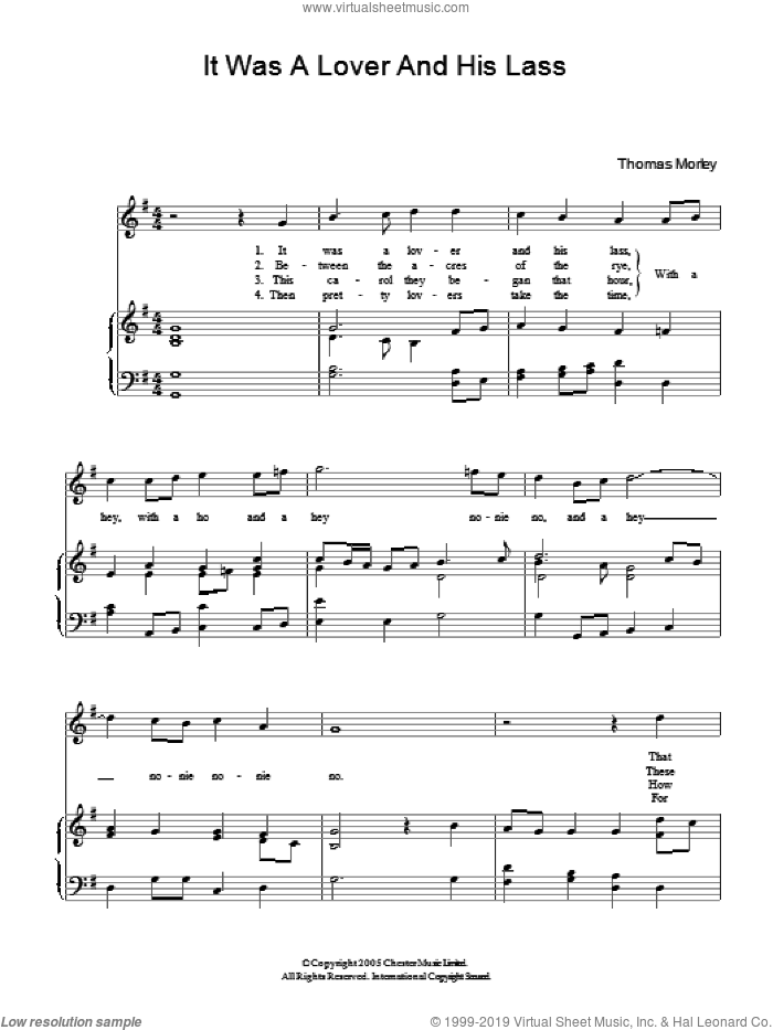 It Was A Lover And His Lass sheet music for piano solo (chords) by Thomas Morley