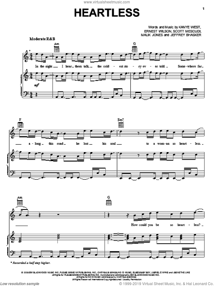 Heartless sheet music for voice, piano or guitar by Scott Mescudi, Jeffrey Bhasker and Kanye West. Score Image Preview.