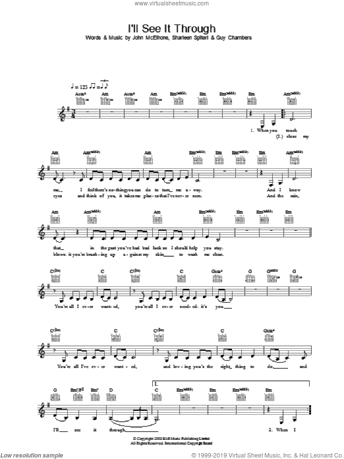 I'll See It Through sheet music for voice and other instruments (fake book) by Texas, intermediate. Score Image Preview.