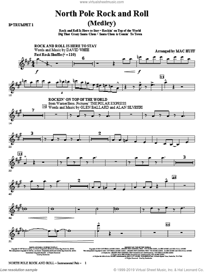 North Pole Rock And Roll (Medley) (complete set of parts) sheet music for orchestra/band by Mac Huff, intermediate. Score Image Preview.