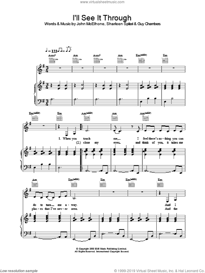 I'll See It Through sheet music for voice, piano or guitar by Texas. Score Image Preview.