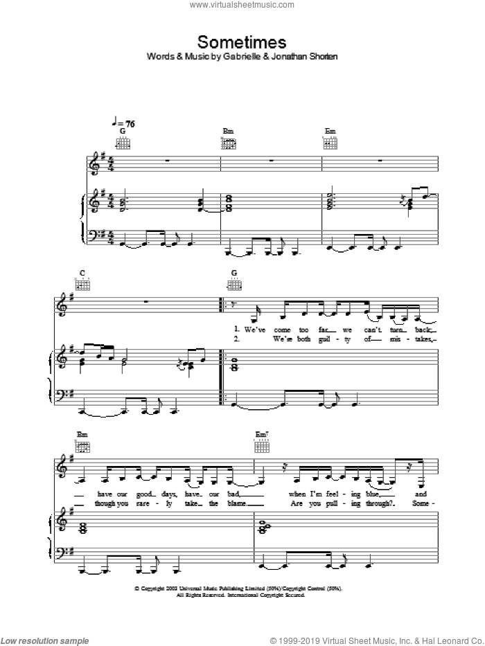 Sometimes sheet music for voice, piano or guitar by Gabrielle, intermediate voice, piano or guitar. Score Image Preview.