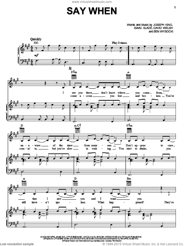 Say When sheet music for voice, piano or guitar by The Fray, intermediate. Score Image Preview.