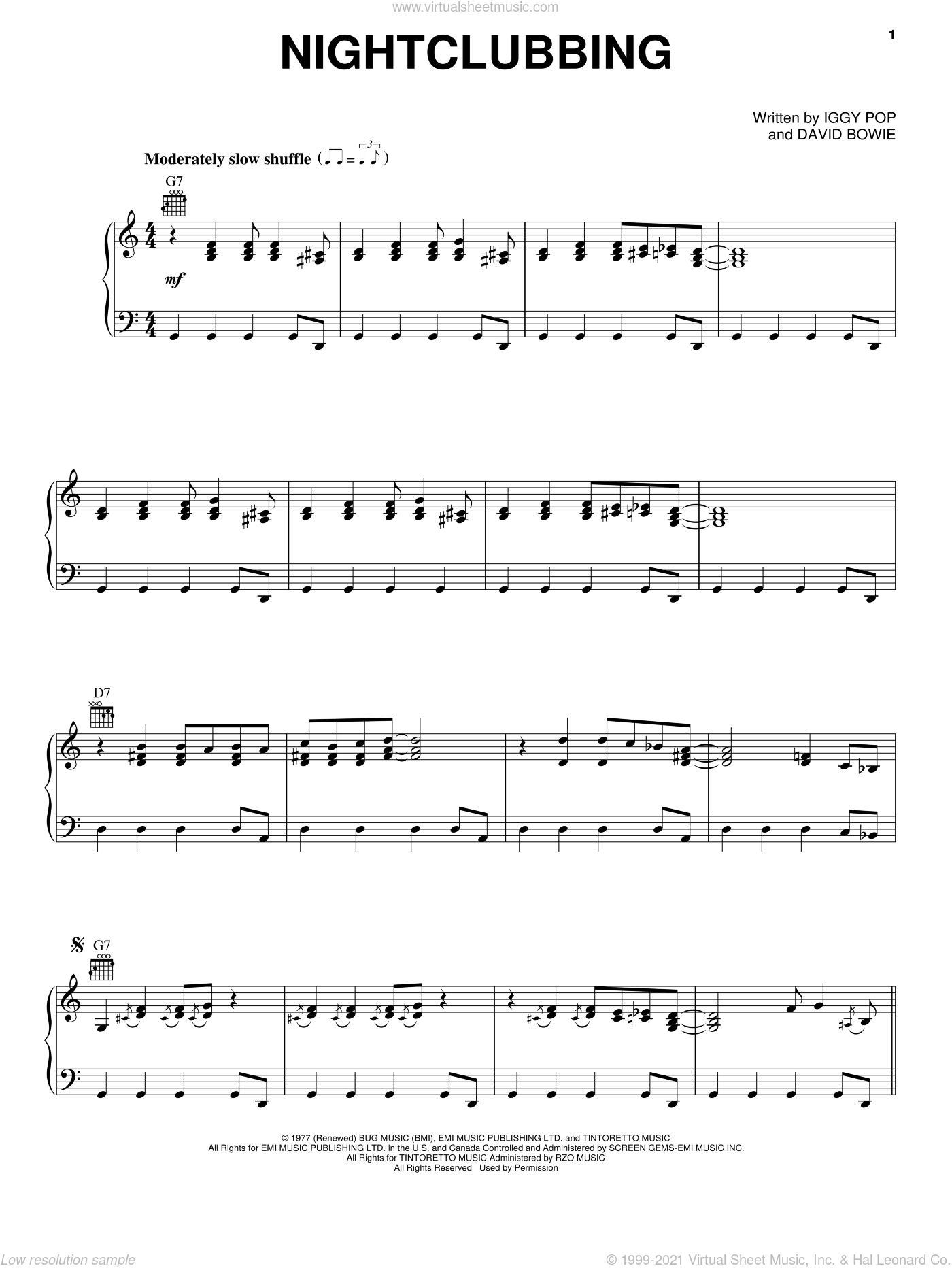 Nightclubbing sheet music for voice, piano or guitar by Iggy Pop, Grace Jones and David Bowie, intermediate skill level