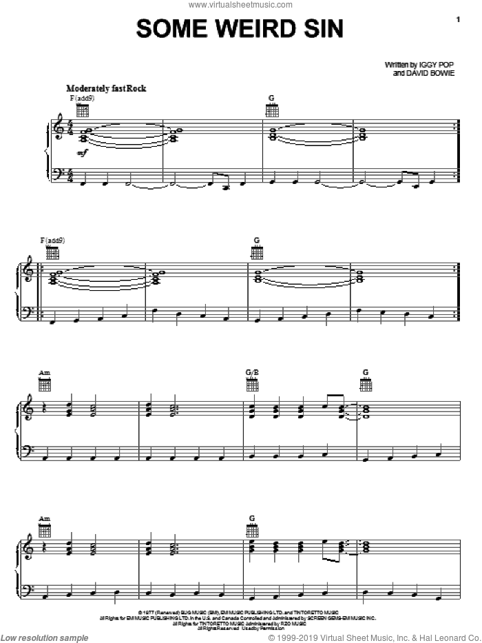 Some Weird Sin sheet music for voice, piano or guitar by Iggy Pop and David Bowie. Score Image Preview.