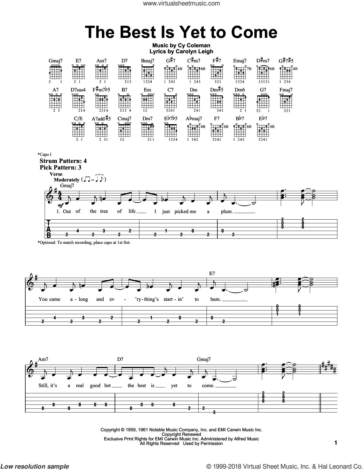 The Best Is Yet To Come sheet music for guitar solo (easy tablature) by Frank Sinatra, Carolyn Leigh and Cy Coleman. Score Image Preview.