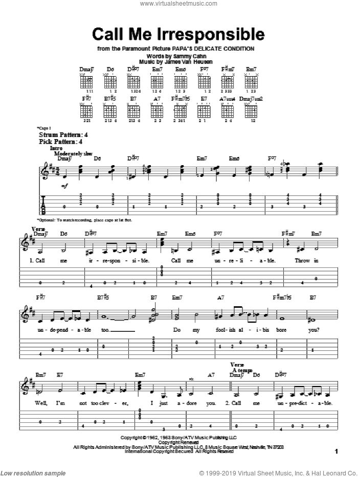 Call Me Irresponsible sheet music for guitar solo (easy tablature) by Sammy Cahn, Frank Sinatra and Jimmy van Heusen. Score Image Preview.