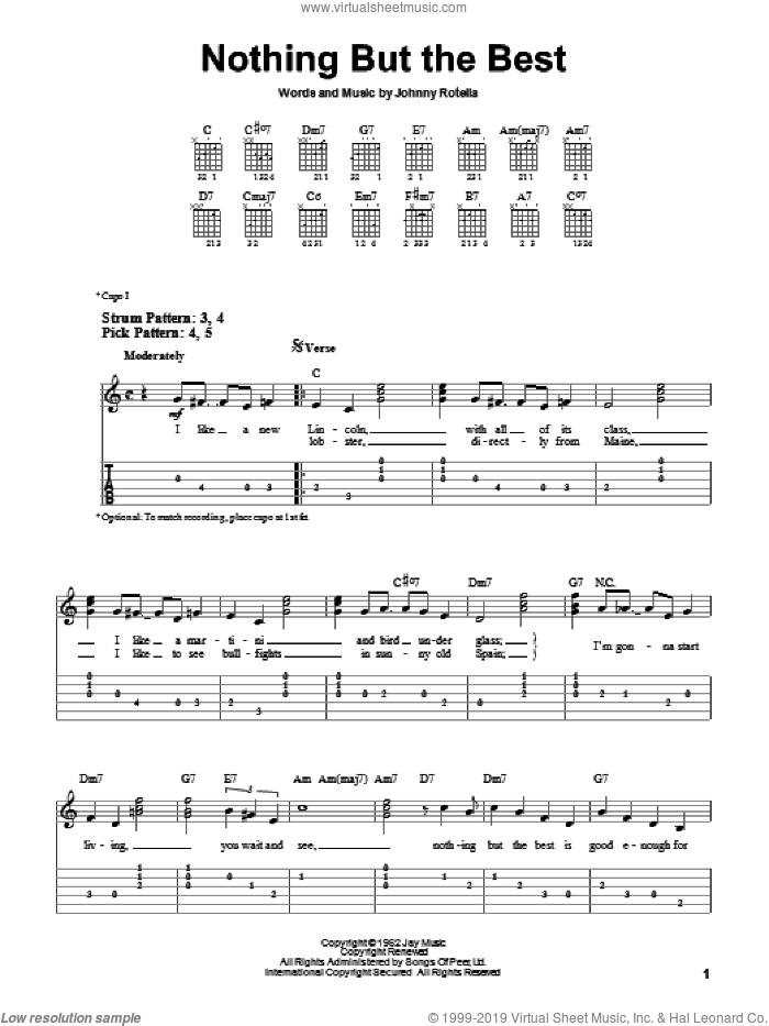 Nothing But The Best sheet music for guitar solo (easy tablature) by Johnny Rotella and Frank Sinatra. Score Image Preview.