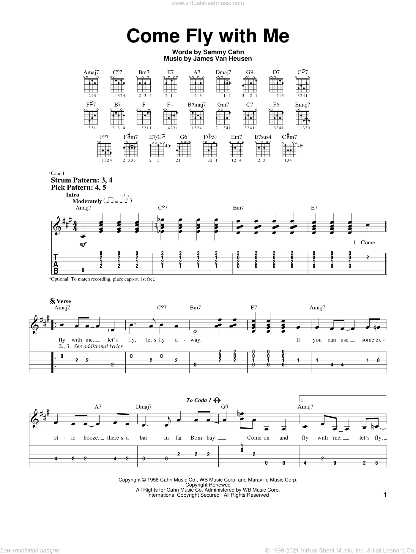 Come Fly With Me sheet music for guitar solo (easy tablature) by Sammy Cahn