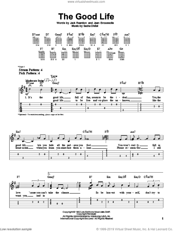 The Good Life sheet music for guitar solo (easy tablature) by Sacha Distel and Frank Sinatra. Score Image Preview.