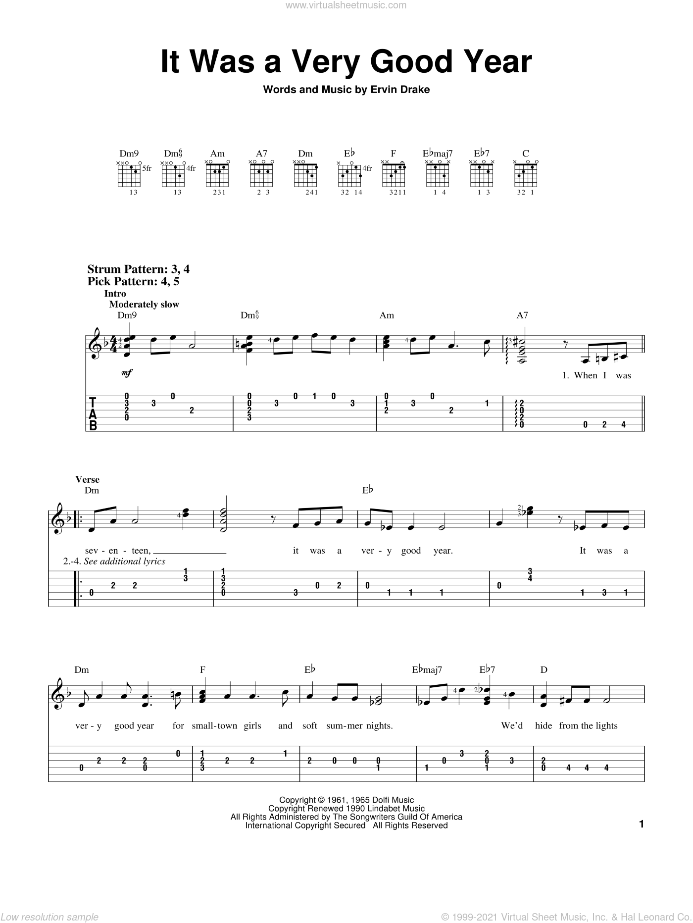 It Was A Very Good Year sheet music for guitar solo (easy tablature) by Frank Sinatra and Ervin Drake, easy guitar (easy tablature)
