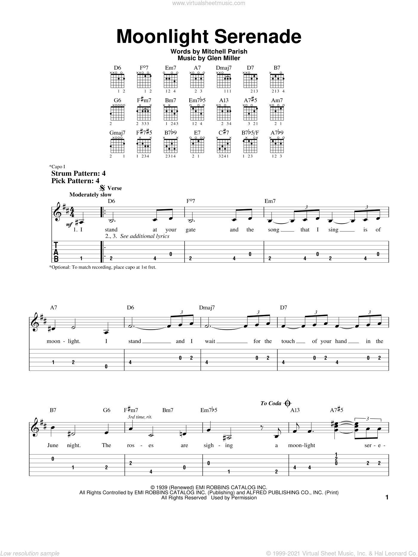 Moonlight Serenade sheet music for guitar solo (easy tablature) by Frank Sinatra, Glen Miller and Mitchell Parish, easy guitar (easy tablature)