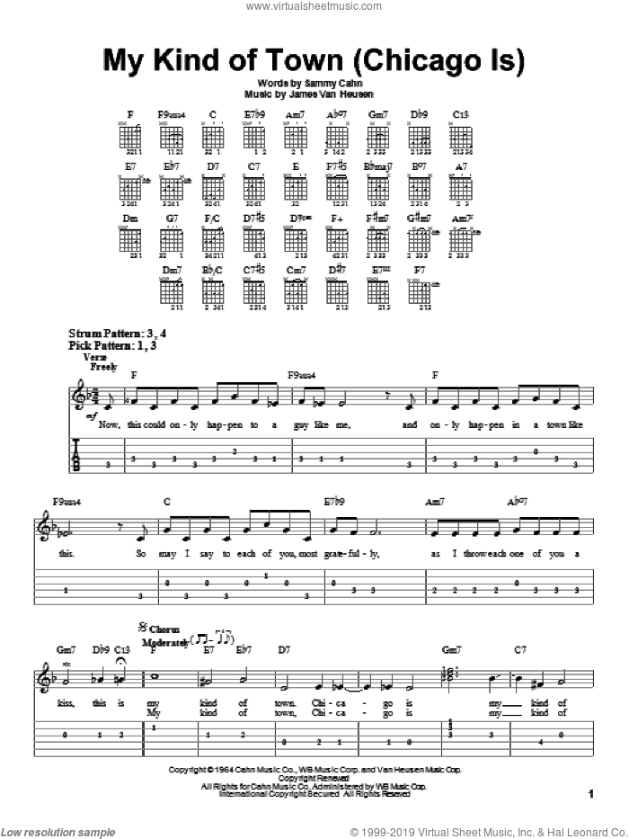 My Kind Of Town (Chicago Is) sheet music for guitar solo (easy tablature) by Sammy Cahn, Frank Sinatra and Jimmy van Heusen