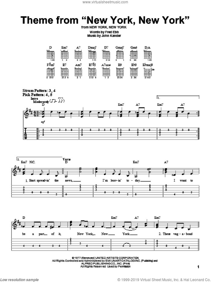 Theme From 'New York, New York' sheet music for guitar solo (easy tablature) by Frank Sinatra, Kander & Ebb, Liza Minnelli, Fred Ebb and John Kander, easy guitar (easy tablature)